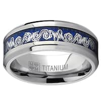 Oliveti Men's Titanium Celtic Dragon Inlay Comfort Fit Ring - White