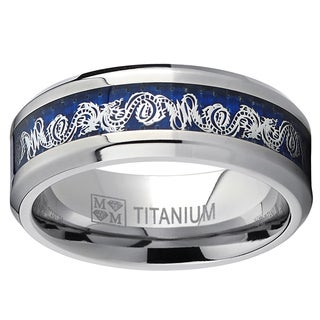 Oliveti Men's Titanium Celtic Dragon Inlay Comfort Fit Ring - White (Option: 9.5)