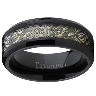 Link to Oliveti Men's Black Titanium Celtic Dragon Inlay Comfort Fit Wedding Band Similar Items in Men's Jewelry