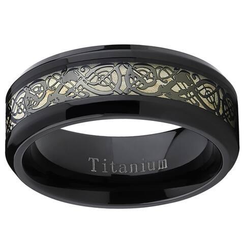 Oliveti Men's Black Titanium Celtic Dragon Inlay Comfort Fit Wedding Band