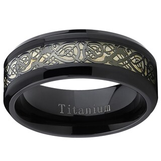 Oliveti Men's Black Titanium Celtic Dragon Inlay Comfort Fit Wedding Band
