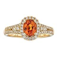 Anika and August 14k Yellow Gold Oval-cut Natural Nigerian Mandarin Garnet and Diamond Ring
