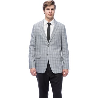 Via Toro Men's Natural Grey Houndstooth Comfort Sportcoat