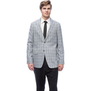 Via Toro Men's Natural Grey Houndstooth Comfort Sportcoat (As Is Item)