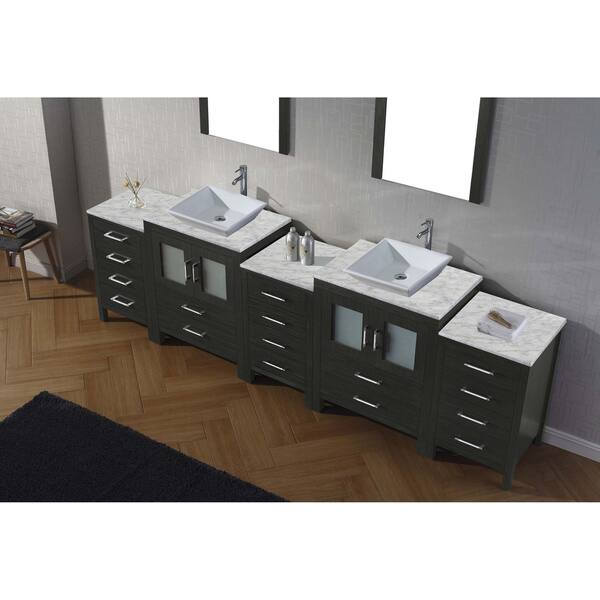 Virtu Usa Dior 110 Inch White Marble Top Double Bathroom Vanity Set With Faucets Overstock 11602285