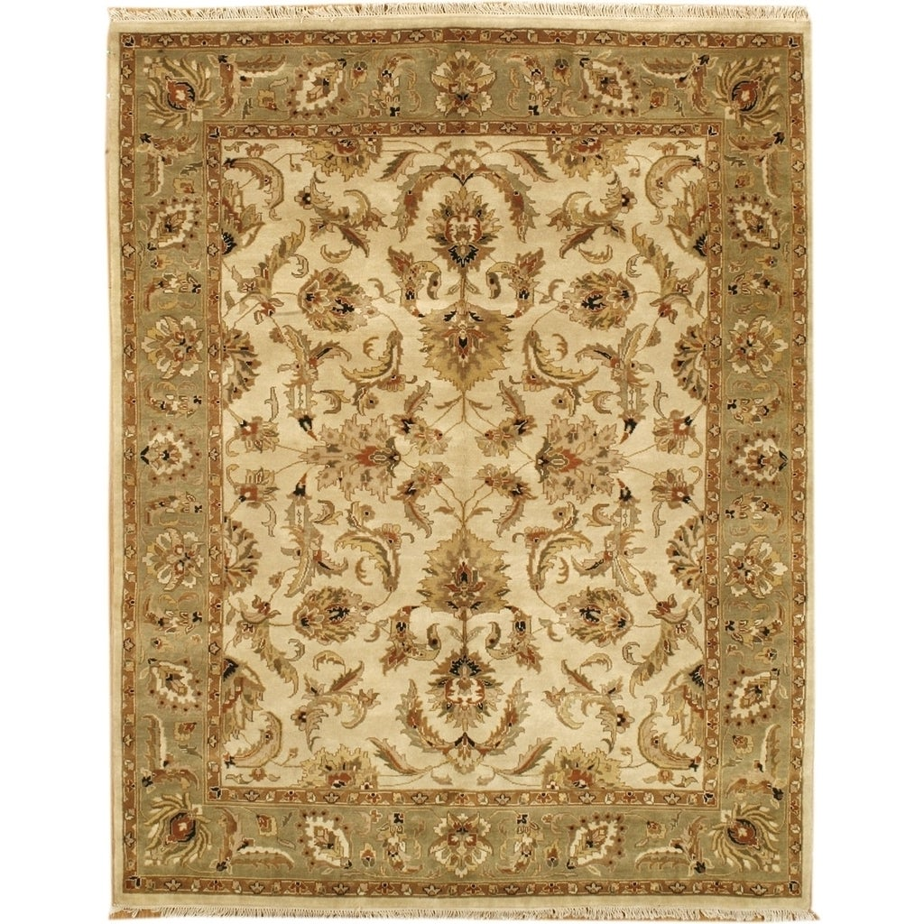 Hand Knotted Agra Design Rug (3' x 5') (3' 0 X 5' 0), Gre...