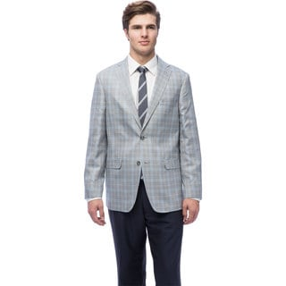 Via Toro Men's Grey Plaid Comfort Sportcoat