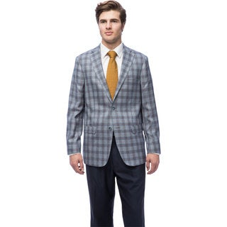 Via Toro Men's Blue Plaid Comfort Sportcoat