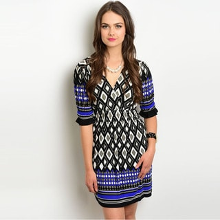 Shop the Trends Women's 3/4 Sleeve Missy Dress with V-Neckline and Allover Tribal Print