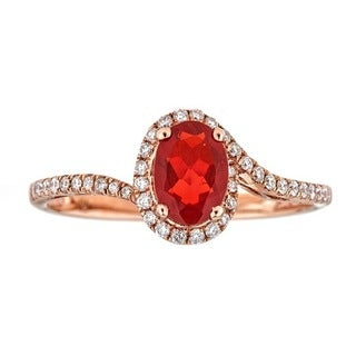 Anika and August 10k Rose Gold Oval-cut Mexican Fire Opal and Diamond Ring - Pink