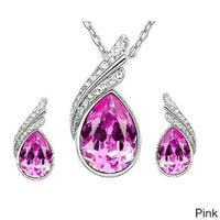 Rhinestone Crystal Water Drop Pendant Necklace Set with Pierced Silver Water Drop Crystal Earrings