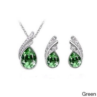 Rhinestone Crystal Water Drop Pendant Necklace Set with Pierced Silver Water Drop Crystal Earrings (Option: Green)