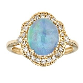 Anika and August 14k Yellow Gold Oval-cut Ethiopian Opal and Diamond Ring