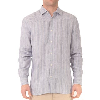 Men's Linen Long Sleeve Stripe Shirt