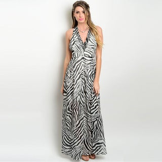 Shop the Trends Women's Sleeveless Gown with Allover Zebra Print and Empire Waist