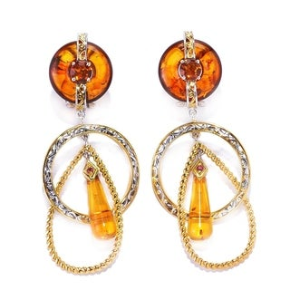 Michael Valitutti Amber, Madeira Citrine and Dark Orange Sapphire Earrings