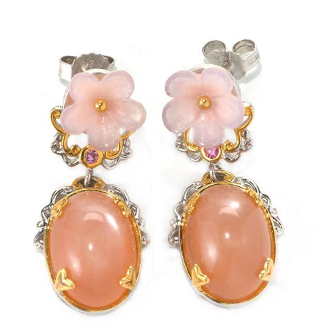 Michael Valitutti Pink Agate, Pink Moonstone and Pink Sapphire Flower Earrings