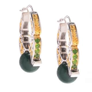 Michael Valitutti Tigers Eye and Chrome Diopside Earrings|https://ak1.ostkcdn.com/images/products/11602335/P18540716.jpg?impolicy=medium