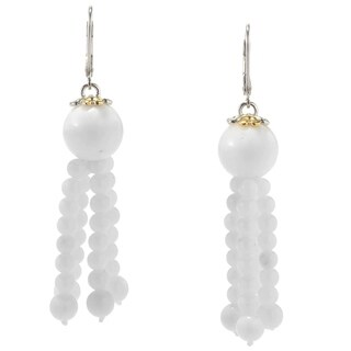Michael Valitutti White Coral Dangling Bead Earrings