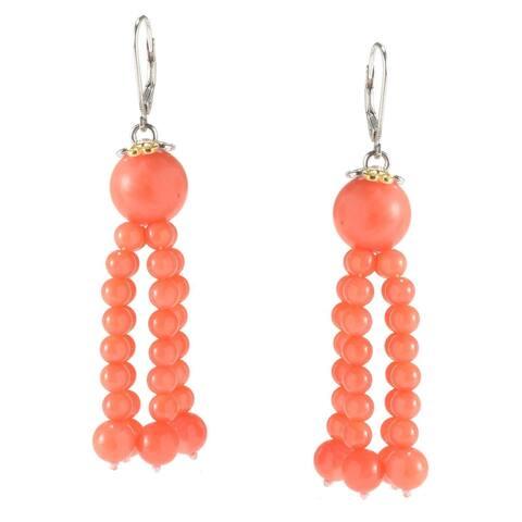 Michael Valitutti Salmon Coral Dangling Bead Earrings