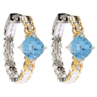 Michael Valitutti Sky Blue Topaz and White Topaz Earrings