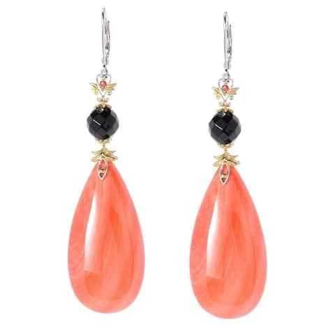 Michael Valitutti Salmon Coral, Black Onyx and Orange Sapphire Earrings