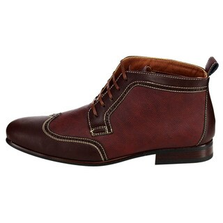 Lace Up Perforated Wingtip Boots