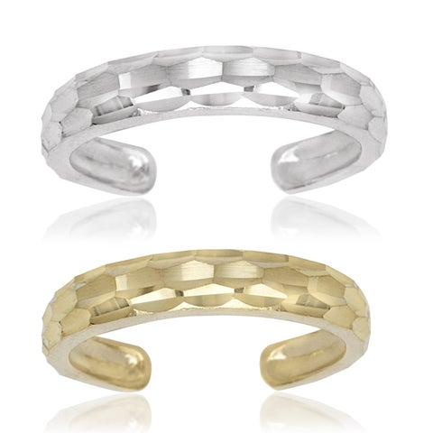 14k Yellow or White Gold Diamond-cut Adjustable Toe Ring