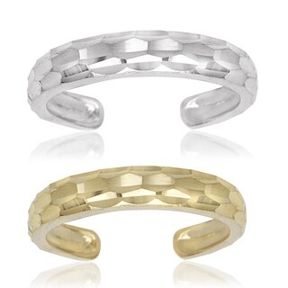 14k Yellow or White Gold Diamond-cut Adjustable Toe Ring