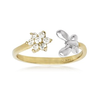 14k Two-tone Gold Butterfly and Flower Cubic Zirconia Adjustable Toe Ring