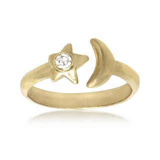14k Yellow Gold Moon and Star Cubic Zirconia Adjustable Toe Ring