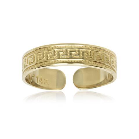 14k Yellow Gold Greek Key Adjustable Toe Ring