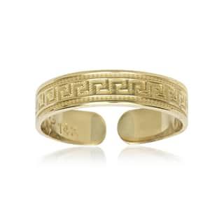14k Yellow Gold Greek Key Adjustable Toe Ring|https://ak1.ostkcdn.com/images/products/11602386/P18540753.jpg?impolicy=medium