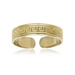 14k Yellow Gold Greek Key Adjustable Toe Ring