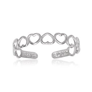 14k White Gold Open Hearts Adjustable Toe Ring