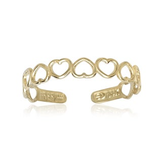 14k Yellow Gold Open Hearts Adjustable Toe Ring