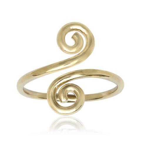 14k Yellow Gold Art Deco Spiral Bypass Adjustable Toe Ring - Orange