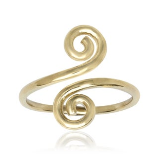 14k Yellow Gold Art Deco Spiral Bypass Adjustable Toe Ring