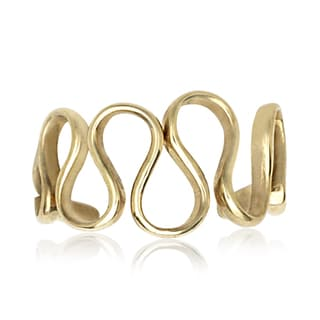 14k Yellow Gold Modern Wave Adjustable Toe Ring