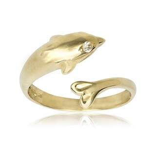 14k Yellow Gold Cubic Zirconia Dolphin Adjustable Toe Ring