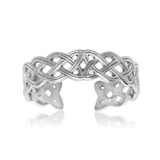 14k White Gold Celtic Knot Adjustable Toe Ring