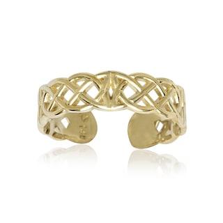 14k Yellow Gold Celtic Knot Adjustable Toe Ring - Orange