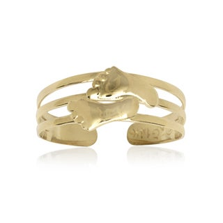 14k Yellow Gold Footprint Adjustable Toe Ring