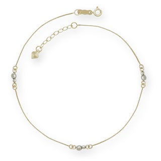 14k Gold 9-Inch Two-tone Mirror Bead Anklet (with 1-inch extender)