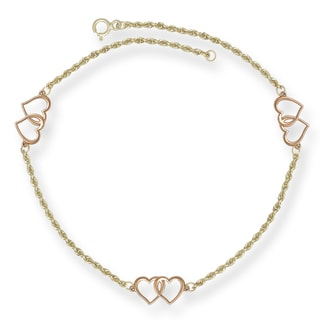 14k Yellow and Rose Gold 10-inch Double Heart Station Anklet