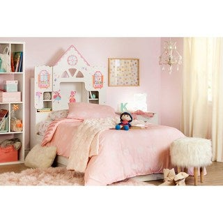 South Shore Vito Dollhouse Themed Twin Bookcase Headboard with Decals