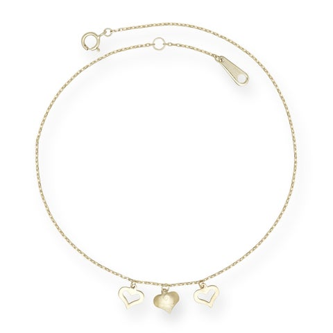 14k Yellow Gold 10-inch Triple Heart Drop Heart Anklet - Orange