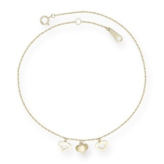 14k Yellow Gold 10-inch Triple Heart Drop Heart Anklet