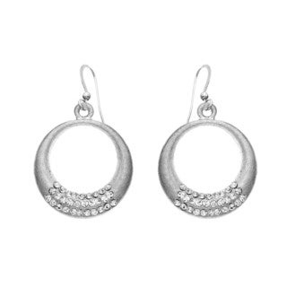 Isla Simone - Silver Tone 3 Roll Crystal Crescent Earring