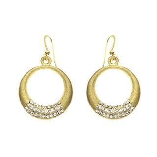 Isla Simone - Gold Tone 3 Roll Crystal Crescent Earring